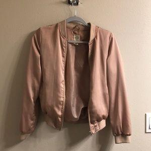 Rose gold bomber jacket